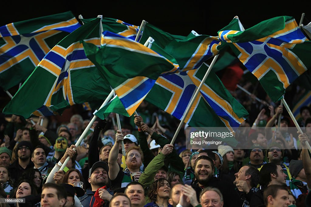 Fans support the Portland Timbers against the San Jose Earthquakes at JELD-WEN Field on April 14, 2013 in Portland, Oregon.