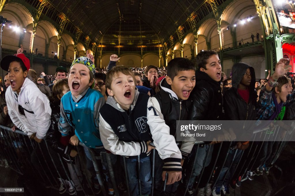 BMX fans support the riders during the finals of the RedBull Skylines BMX Contest at Grand Palais on November 2, 2012 in Paris, France.