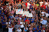 Fans support the United States Women's National Soccer Team as they face Japan during an international friendly match at Dick's Sporting Goods Park...