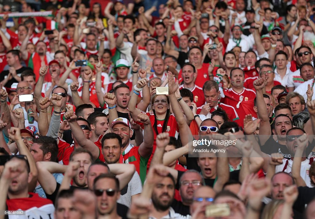 Fans support their team prior to the UEFA Euro 2016 round of 16 football match between Hungary and Belgium at Stadium Municipal in Toulouse, France on June 26, 2016.
