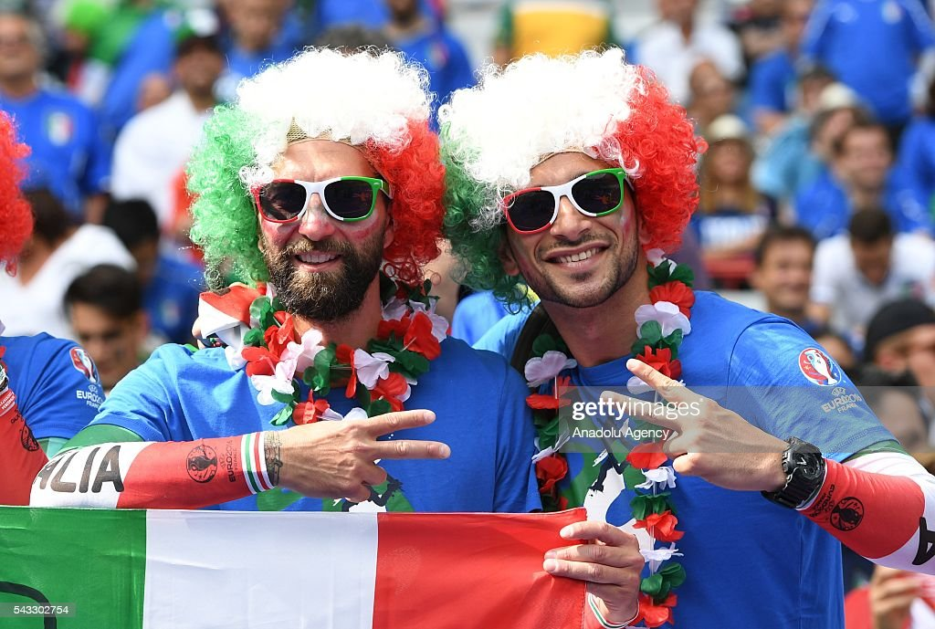 Fans support their team prior to the UEFA Euro 2016 round of 16 football match between Italy and Spain at Stade de France in Paris, France on June 27, 2016.
