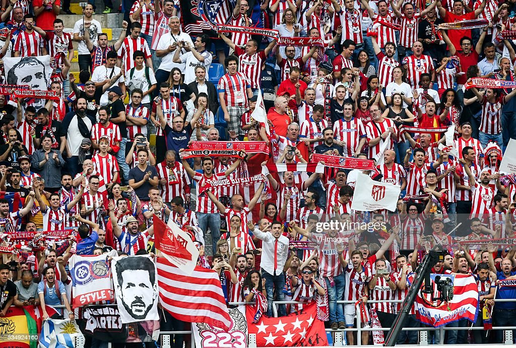 fans, supporters atletico madrid, coach Diego Simeone of Club Atletico de Madrid banner, scarf during the UEFA Champions League final match between Real Madrid and Atletico Madrid on May 28, 2016 at the Giuseppe Meazza San Siro stadium in Milan, Italy.