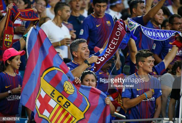 Fans supporting their team before the start of the ''El Clasico Miami'' match Barcelona against Real Madrid as part of the International Champions...