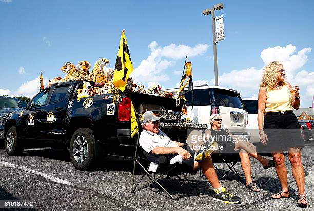 Fans tailgate ahead of the game between the Delaware State Hornets and the Missouri Tigers at Faurot Field/Memorial Stadium on September 24 2016 in...