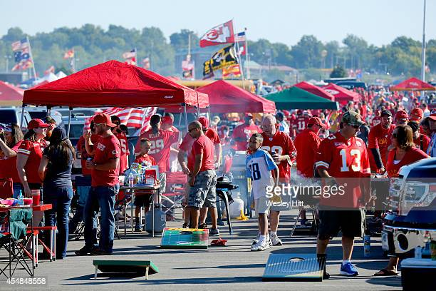 Fans tailgate before the game between the Kansas City Chiefs and the Tennessee Titans at Arrowhead Stadium on September 7 2014 in Kansas City Missouri