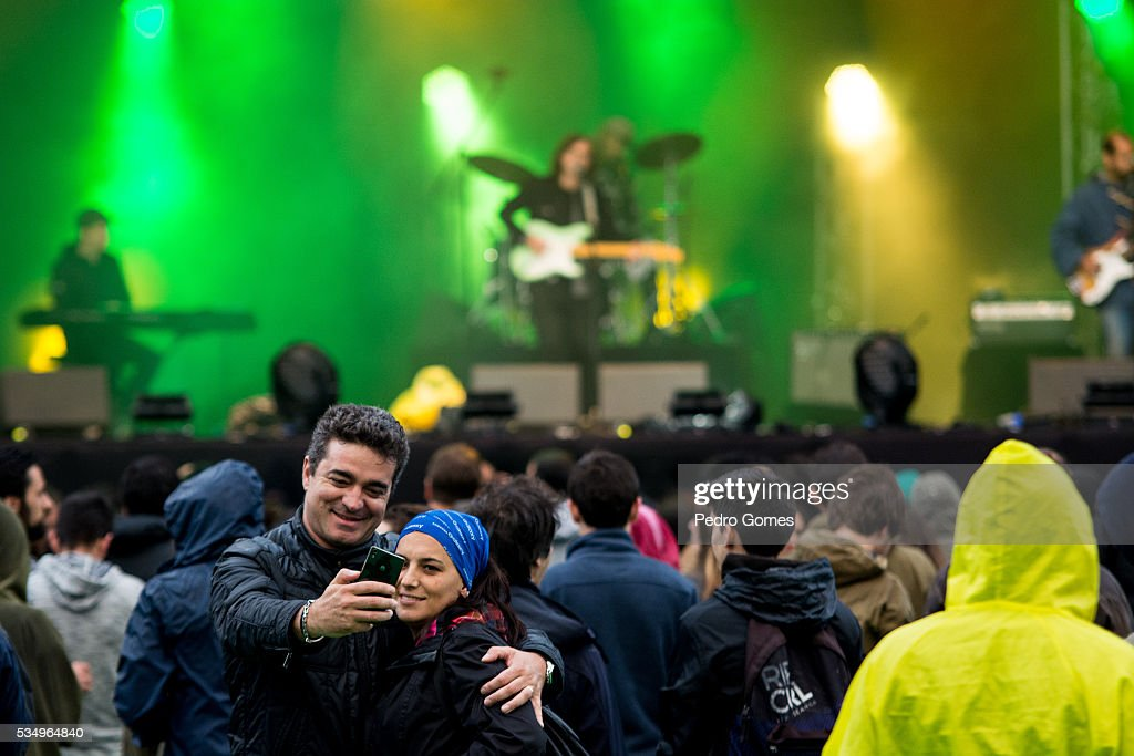 Fans take a selfie during the Real Estate performance on Vodafone stage at Rock in Rio on May 28, 2016 in Lisbon, Portugal.