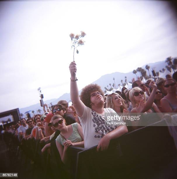 Fans take in the music at the Coachella Valley Music and Arts Festival at the Empire Polo Fields on April 27 2008 in Indio California The Coachella...