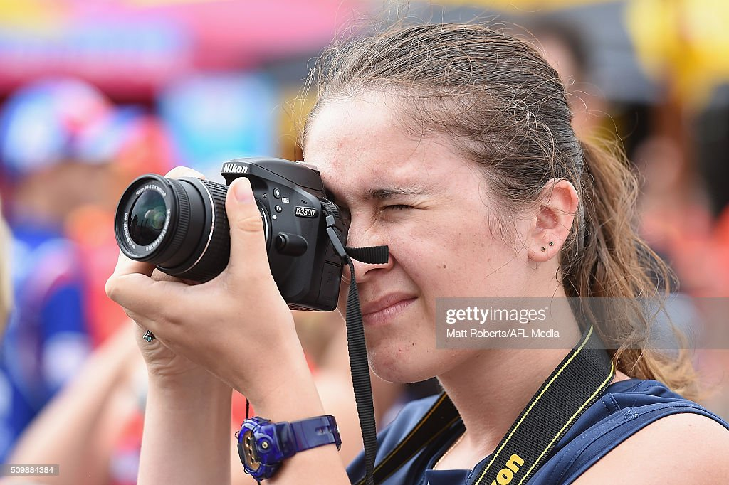 Fans take photographs during the Gold Coast Suns AFL open day at Metricon Stadium on February 13, 2016 on the Gold Coast, Australia.