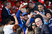 Fans take pictures with Deigo Maradona on the stand prior to the 2015 Rugby World Cup Pool C match between Argentina and Tonga at Leicester City...