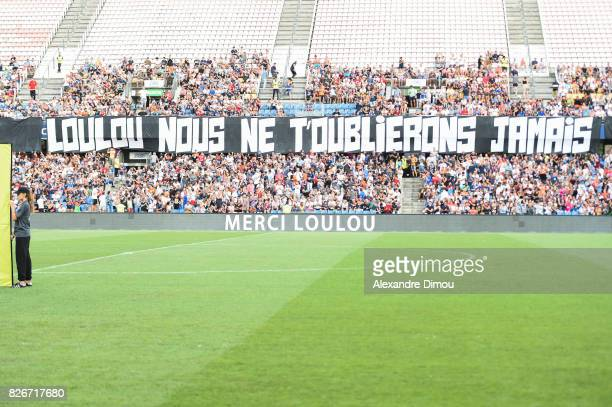 Fans Tribute to Louis Nicollin during the Ligue 1 match between Montpellier Herault SC and SM Caen at Stade de la Mosson on August 5 2017 in...