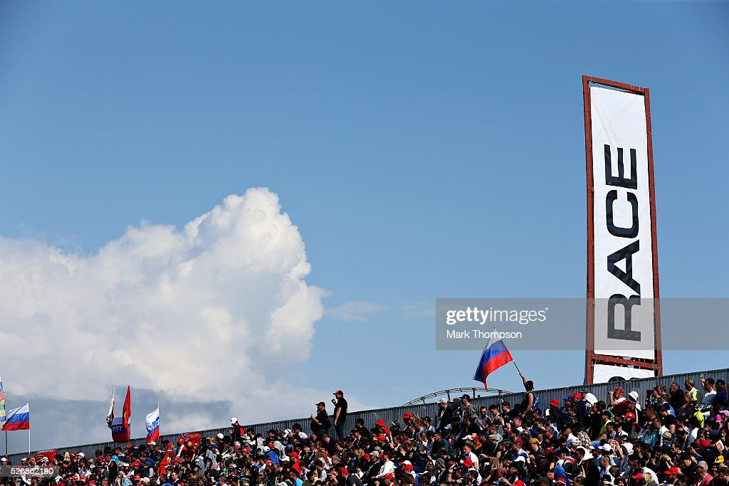 Fans underneath a Race sign during the Formula One Grand Prix of Russia at Sochi Autodrom on May 1, 2016 in Sochi, Russia.