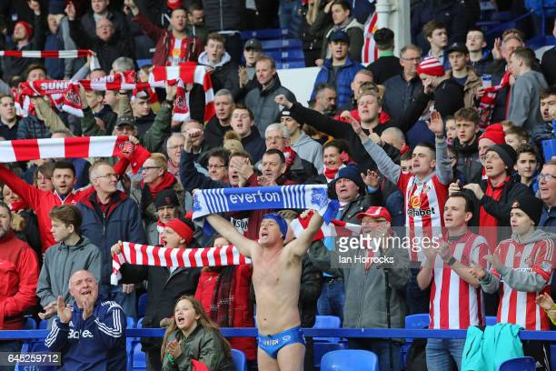 Fans unite in support of Bradley Lowrey during the Premier League match between Everton and Sunderland at Goodison Park on February 25 2017 in...