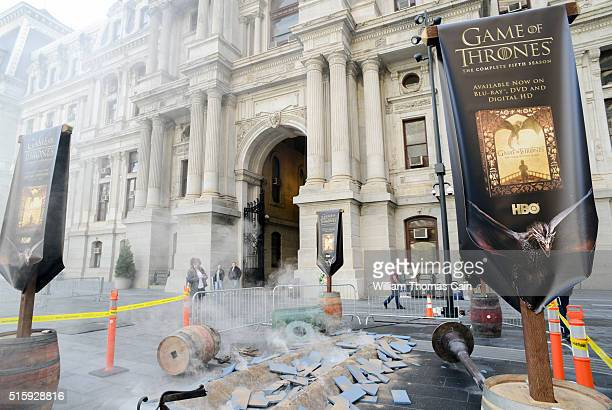 Fans view the dragon landing display during the Game of Thrones The Complete Fifth Season DVD/BluRay Celebration March 16 2016 at Dilworth Plaza in...