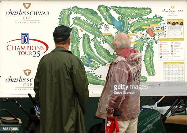 Fans view the Sonoma Golf Club course map near the clubhouse during the second round of the Champions Tour 2005 Charles Schwab Cup Championship at...