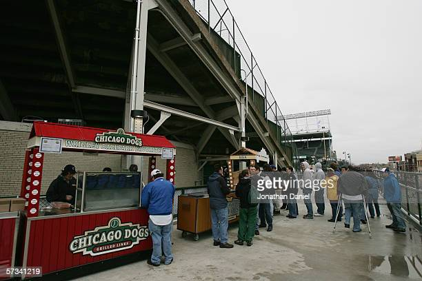 Fans wait at the concession stand during the Chicago Cubs game against the St Louis Cardinals during the home opener at Wrigley Field on April 7 2006...