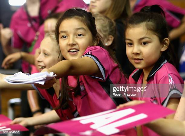 Fans wait for autographs during the round eight Super Netball match between the Thunderbirds and the Vixens at Priceline Stadium on April 8 2017 in...