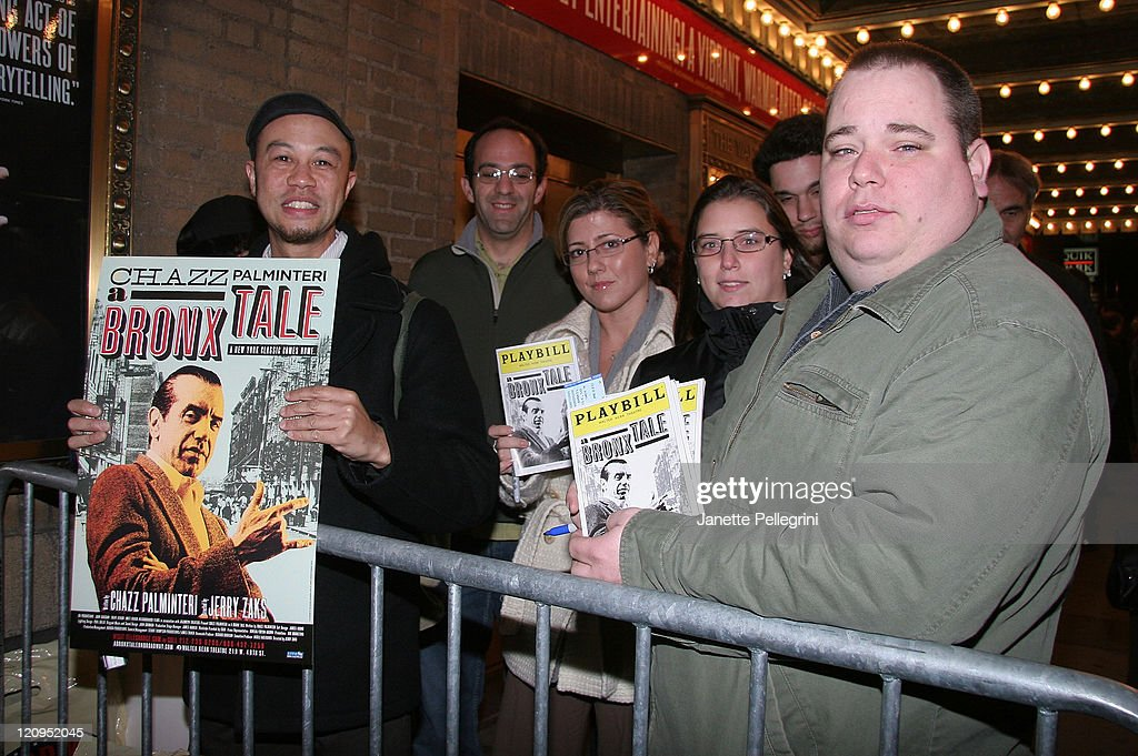 Fans wait for Chazz Palminteri to signs autographs at the reopening of 'A Bronx Tale' on Broadway after the Stagehands' strike ends at Walter Kerr...