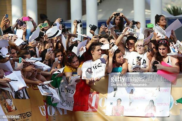 Fans wait for Lea Michele at Giffoni Film Festival photocall on July 20 2014 in Giffoni Valle Piana Italy