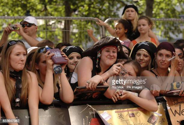 Fans wait for the arrival of Johnny Depp ahead of the European premiere of Pirates of the Caribbean Dead Man's Chest at the Odeon Cinema in Leicester...