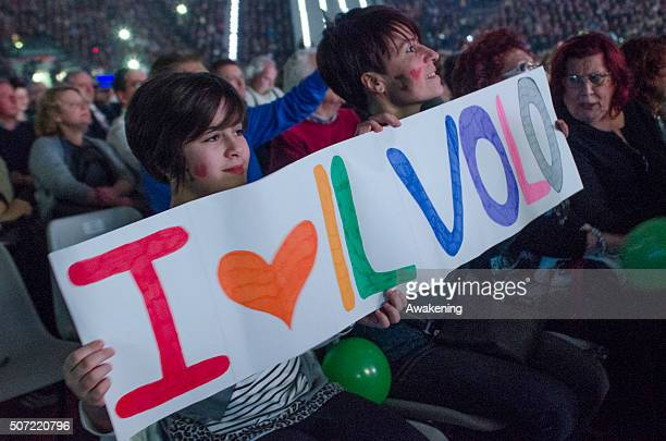 Fans wait for the arrival of pop and classical crossover italian group Il Volo inside the Pala Alpitour on January 27 2016 in Turin Italy