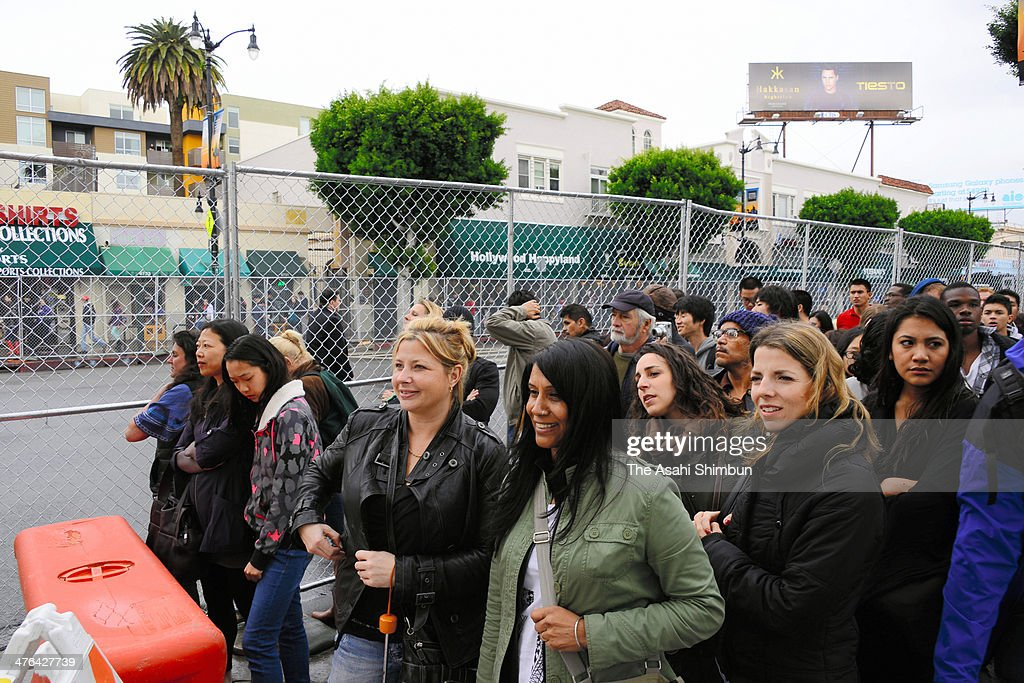 Fans wait for the Oscars held at Hollywood Highland Center on March 2 2014 in Hollywood California
