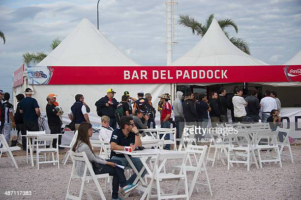 Fans wait in front of paddock bar during the MotoGP race during the MotoGp of Argentina Race at on April 27 2014 in Rio Hondo Argentina