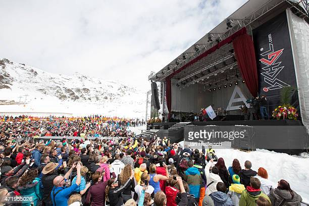 Fans wait in front of the stage for '30 seconds of Mars' at the Top of the Mountain concert on May 2 2015 in Ischgl Austria