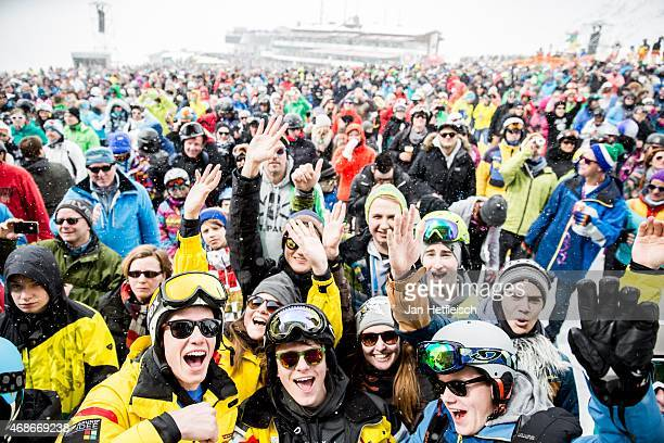 Fans wait in front of the stage for singer Jan Delay at the Top of the Mountain Easter Concert on April 5 2015 in Ischgl Austria