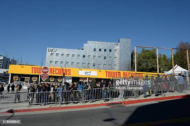 Fans wait in line as Guns N' Roses announce concert and ticket giveaway at Tower Records on April 1 2016 in West Hollywood California