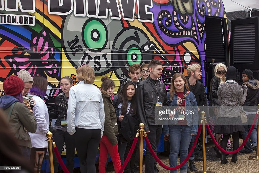 Fans wait in line at Lady Gaga's Born Brave Bus Tour at Navy Pier on March 27, 2013 in Chicago, Illinois.