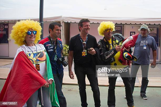 Fans wait in paddock in front of box during the MotoGp of Argentina Free Practice at on April 25 2014 in Rio Hondo Argentina