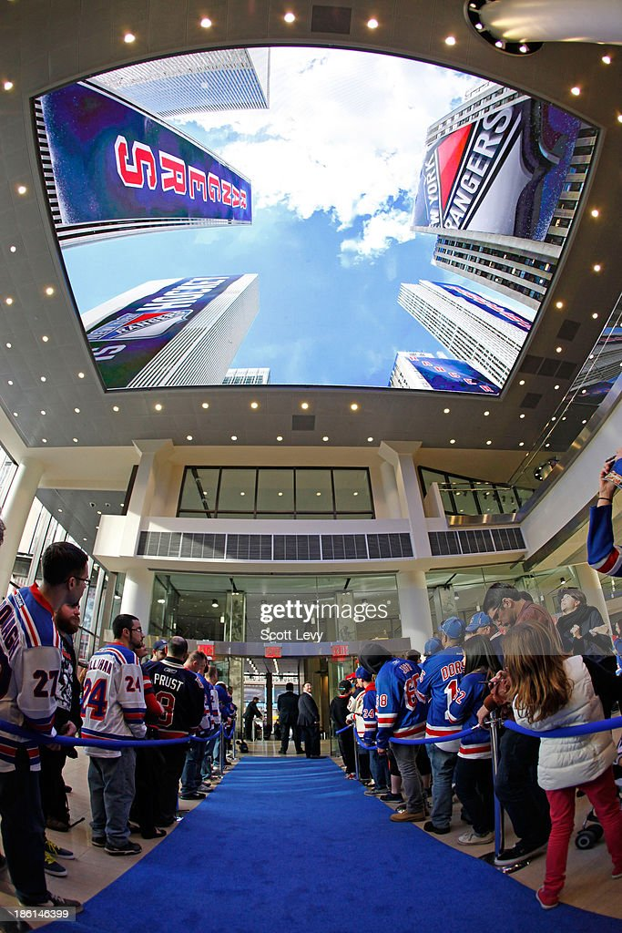 Fans wait in the newly renovated entrance of Madison Square Garden prior to the start of the game between the New York Rangers and the Montreal...