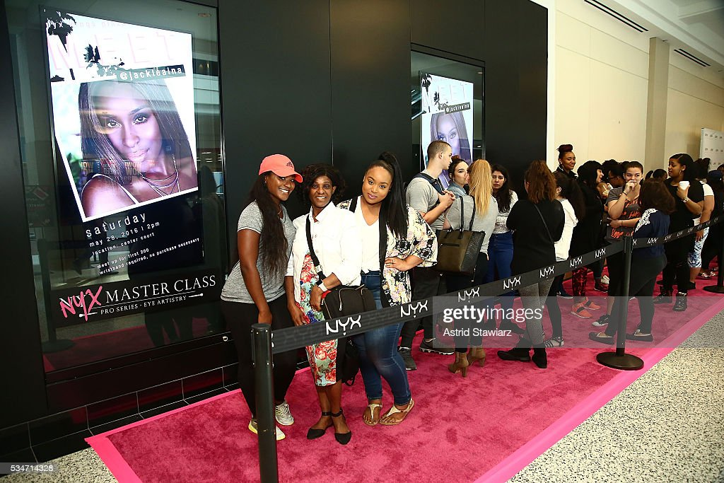 NYX fans wait on line for the NYX Professional Makeup Store Kings Plaza Ribbon Cutting and Store Opening on May 25, 2016 in Brooklyn, New York.