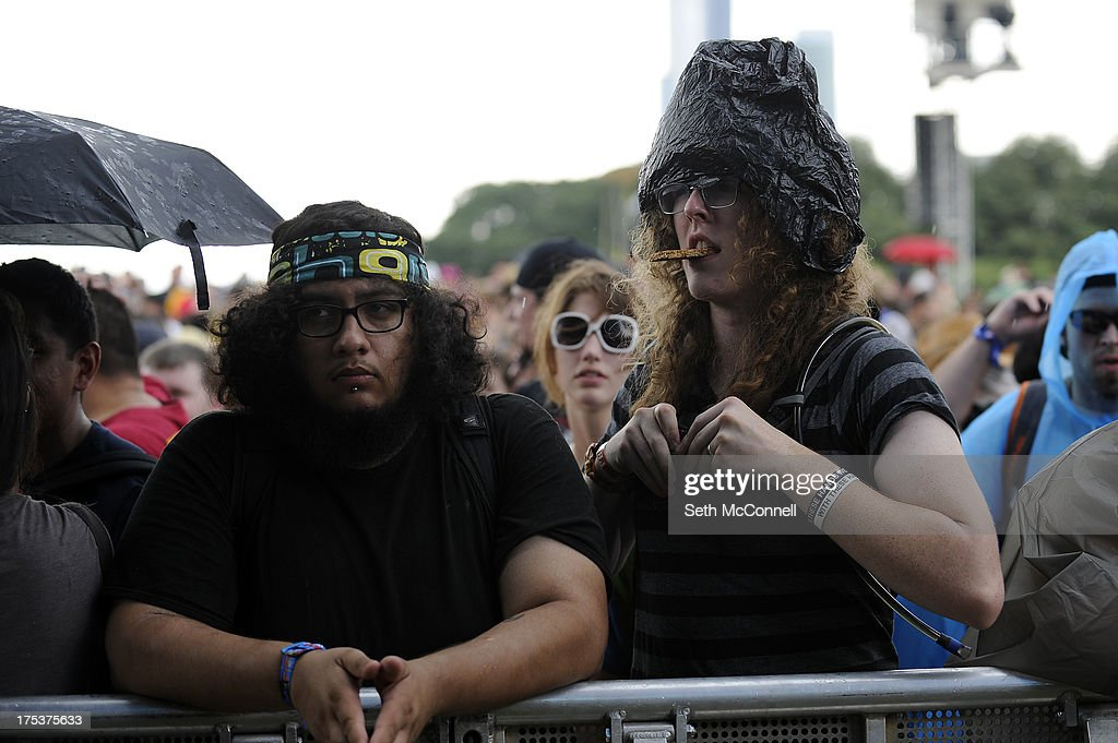 Fans wait on the barricade before Ghost BC performs as part of Lollapalooza 2013 at Grant Park on August 2 2013 in Chicago Illinois
