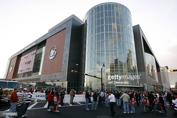 Fans wait outside before a game between the Ottawa Senators and the New Jersey Devils at the Prudential Center October 27 2007 in Newark New Jersey