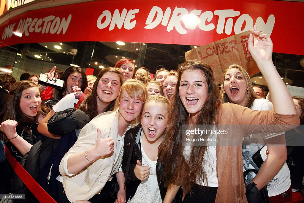 Fans wait outside the official One Direction merchandise store on April 20, 2012 in Wellington, New Zealand. The 1D fan store will sell official merchandise for four days only, closing on Monday, April 20. One Direction is on tour in New Zealand performing a show in Auckland and Wellington before returning to the UK.