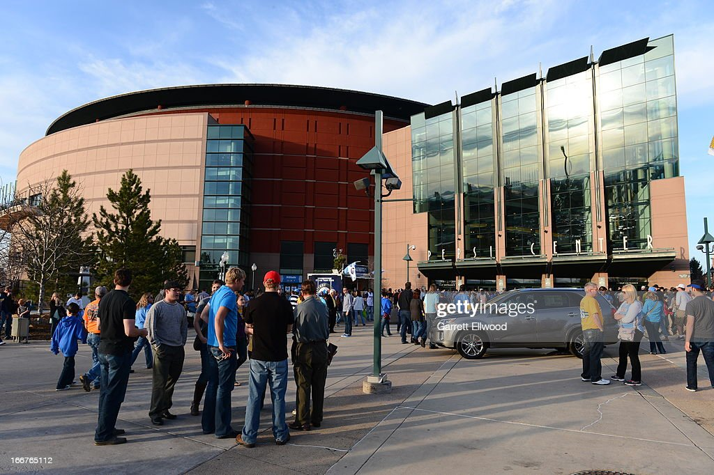 Fans wait outside the Pepsi Center prior to The Dallas Mavericks versus the Denver Nuggets on April 4, 2013 at the Pepsi Center in Denver, Colorado.