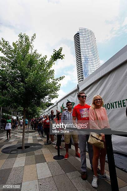 Fans wait to enter the 2015 UEFA Champions League Trophy Tour presented by Heineken exhibition on April 18 2015 in Dallas Texas