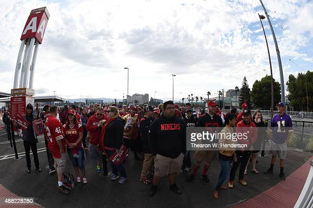 Fans wait to enter the stadium prior to the San Francisco 49ers and the Minnesota Vikings NFL game at Levi's Stadium on September 14 2015 in Santa...