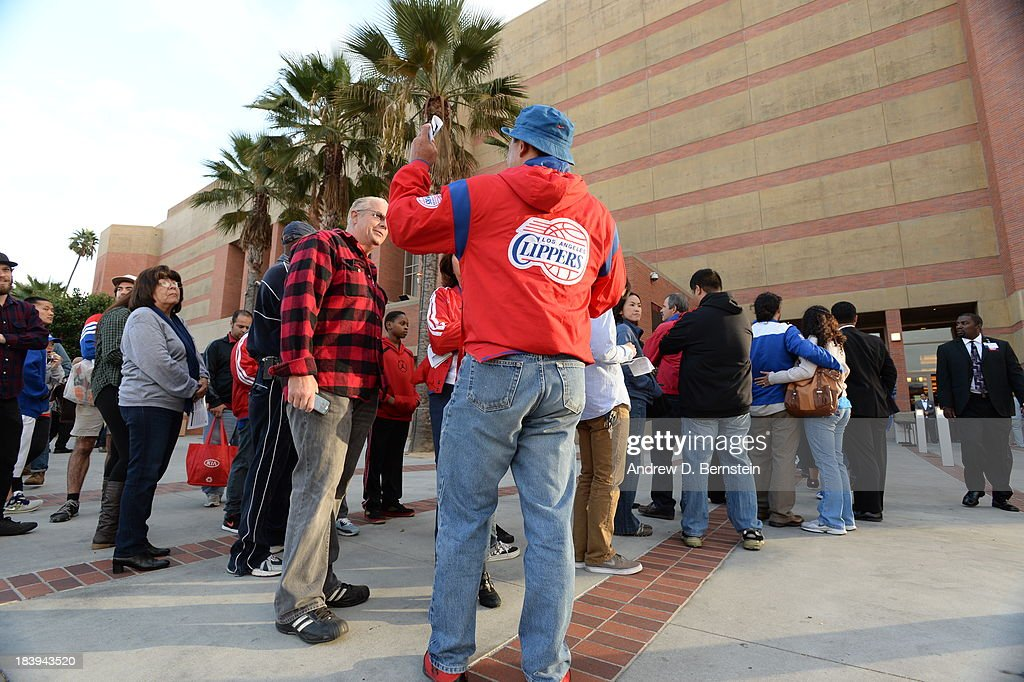Fans wait to get into a Los Angeles Clippers open scrimmage at Galen Center on October 9, 2013 in Los Angeles, California.