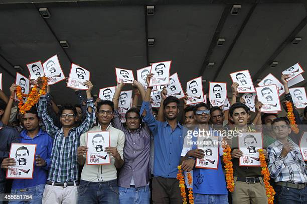 Fans waiting for arrival of Italian footballer Alessandro Del Piero at Indira Gandhi International Airport on September 18 2014 in New Delhi India...