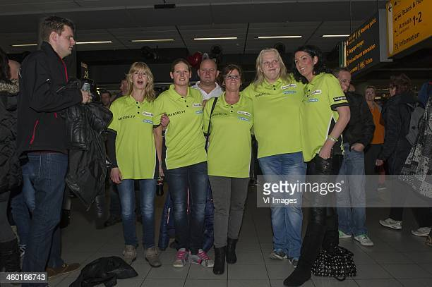 Fans waiting for Michael van Gerwen arrives at Schiphol airport after winning the final of the Ladbrokescom World Darts Championships at Alexandra...