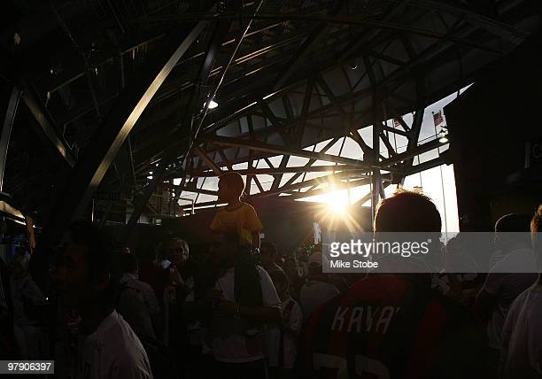 Fans walk along the concource of Red Bull Arena on March 20 2010 in Harrison New Jersey