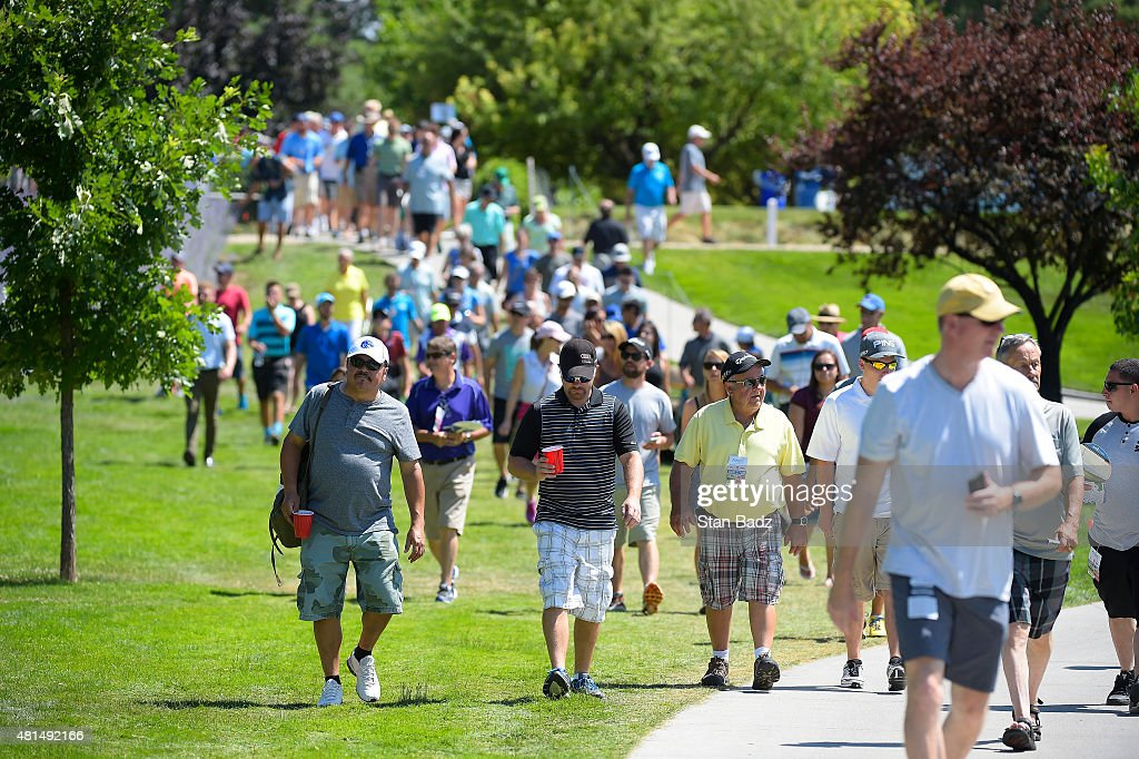 Fans walk along the ninth hole during the final round of the Web.com Tour Albertsons Boise Open presented by Kraft Nabisco at Hillcrest Country Club on July 12, 2015 in Boise, Idaho.