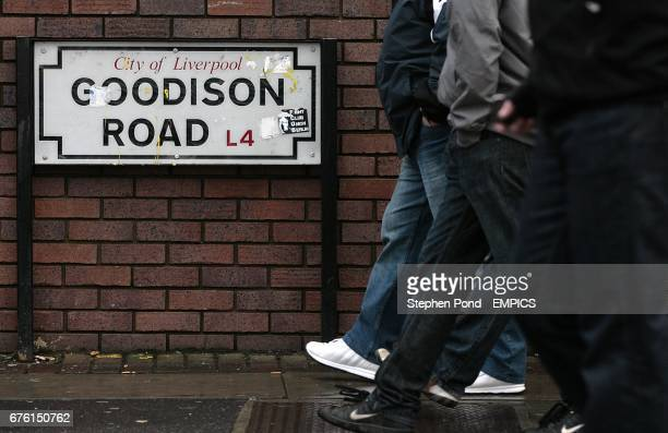 Fans walk down Goodison Road on their way to the ground