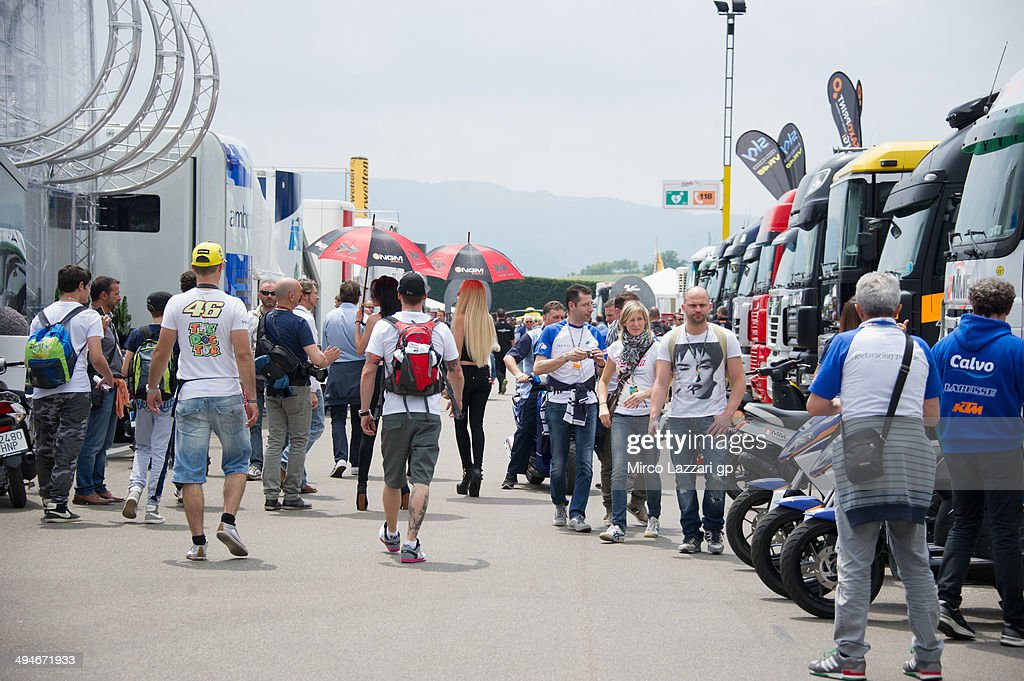 Fans walk in paddock during MotoGp of Italy Free Practice at Mugello Circuit on May 30 2014 in Scarperia Italy