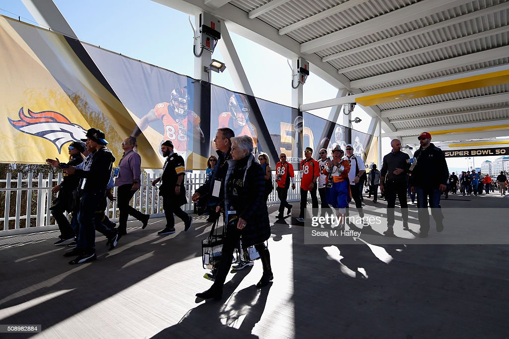 Fans walk in the concourse area prior to Super Bowl 50 at Levi's Stadium between the Denver Broncos and the Carolina Panthers on February 7, 2016 in Santa Clara, California.