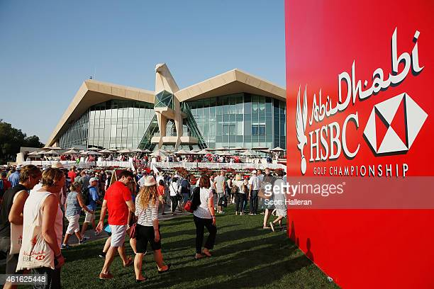 Fans walk near the clubhouse during the second round of the Abu Dhabi HSBC Golf Championship at the Abu Dhabi Golf Cub on January 16 2015 in Abu...