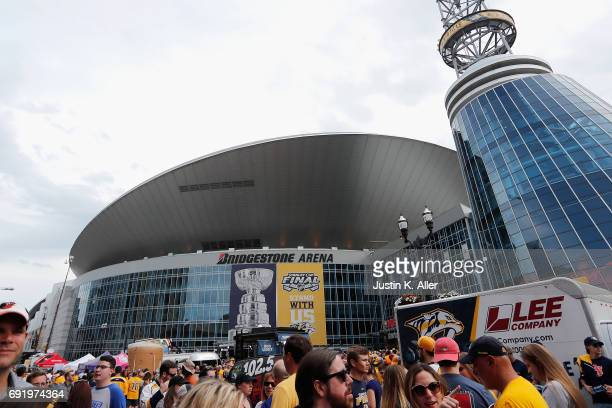 Fans walk outside of Bridgestone Arena prior to Game Three of the 2017 NHL Stanley Cup Final between the Pittsburgh Penguins and the Nashville...