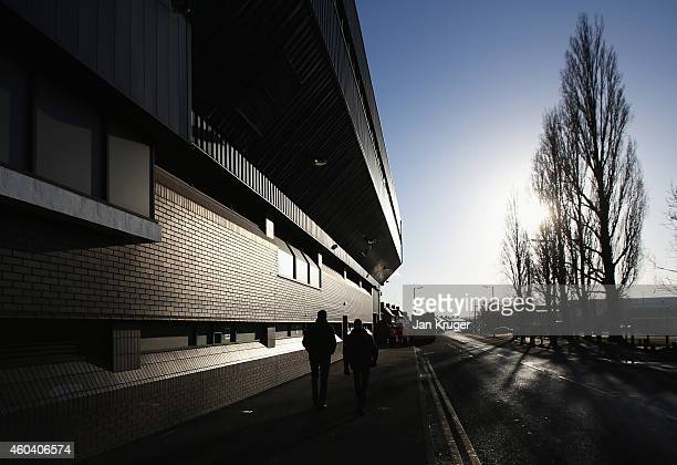 Fans walk outside the ground prior to the Barclays Premier League match between West Bromwich Albion and Aston Villa at The Hawthorns on December 13...